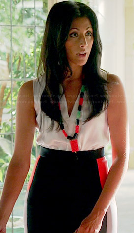 Divya's black and red colorblock skirt on Royal Pains