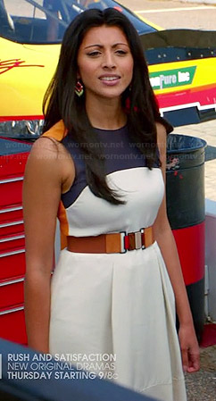 Divya's white, navy and orange colorblock dress on Royal Pains