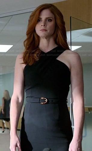 Donna's black cross neck dress on Suits