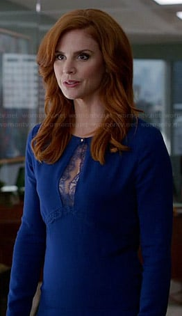 Donna's blue lace keyhole dress on Suits