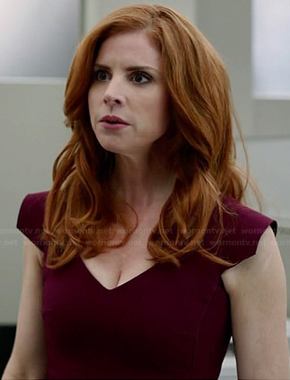 Donna's burgundy v-neck cap sleeve dress on Suits