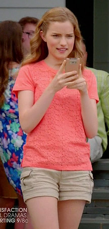 Emma's orange lace front top and cargo shorts on Royal Pains