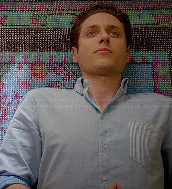 Evan's blue shirt with striped pocket on Royal Pains