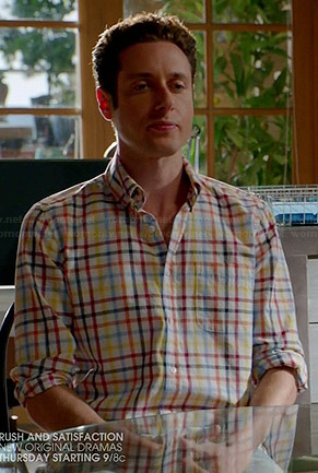 Evan's multi colored check shirt on Royal Pains