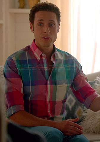 Evan's multi-colored plaid shirt on Royal Pains