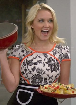 Gabi's black and white floral dress with orange trim on Young and Hungry