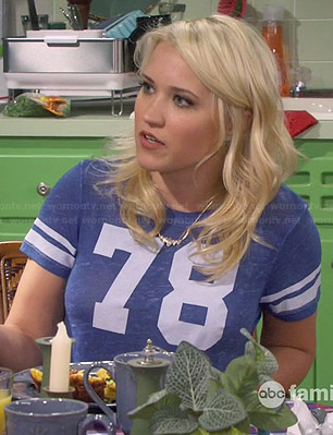 "Gabi's blue ""78"" tee on Young and Hungry"