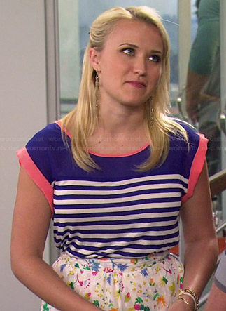 Gabi's blue striped top with pink trim on Young and Hungry