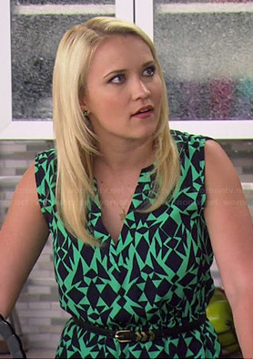Gabi's green geometric print dress and chevron skinny belt on Young and Hungry
