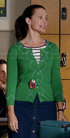 Ginny's green scalloped cardigan on Bad Teacher