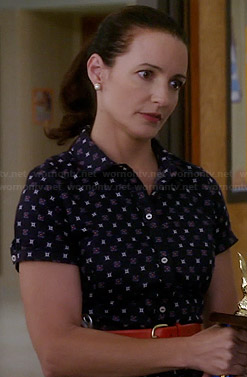 Ginny's navy foulard print shirtdress on Bad Teacher