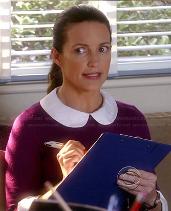 Ginny's purple peter pan collar sweater on Bad Teacher
