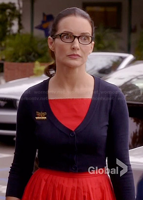 Ginny's red pleated dress and cropped navy cardigan on Bad Teacher