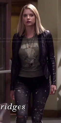 Hanna's black paint splatter jeans and leather jacket on Pretty Little Liars