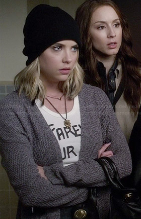 "Hanna's ""Farewell Tour 1982"" Tee and grey cardigan on Pretty Little Liars"