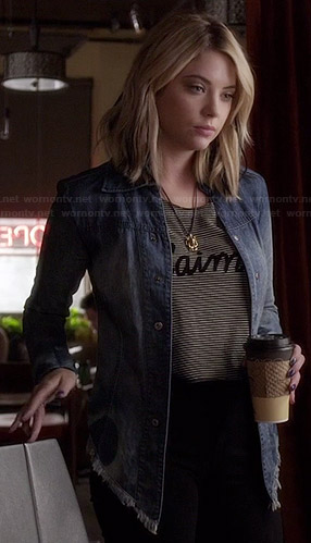 "Hanna's striped ""J'aime"" top and denim jacket on Pretty Little Liars"