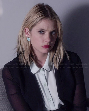 Hanna's white sleeveless shirt, sheer-sleeved jacket and blue circle earrings on Pretty Little Liars