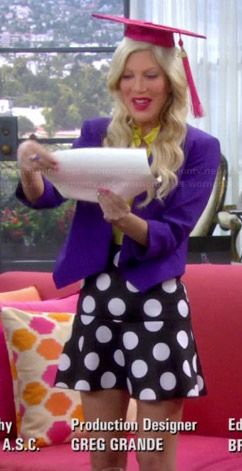 Holly's black and white polka dot skirt and purple blazer on Mystery Girls