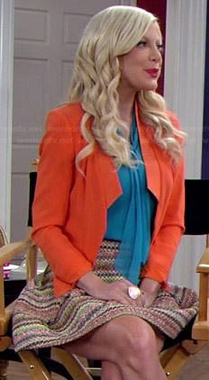 Holly's blue bow front blouse and orange blazer on Mystery Girls