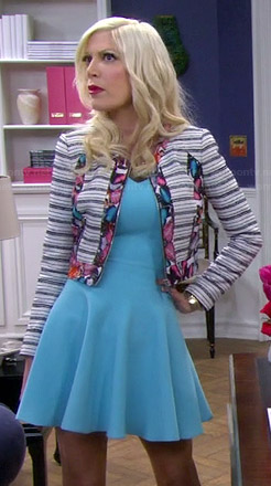 Holly's blue fit and flare dress and floral trim jacket on Mystery Girls