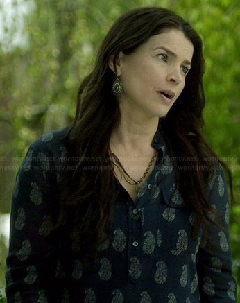 Joanna's blue paisley printed shirt on Witches of East End