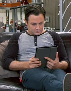 Josh's grey and black henley tee on Young and Hungry