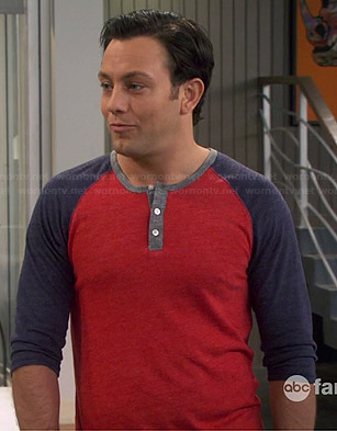 Josh's red and navy henley tee on Young and Hungry