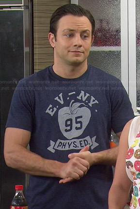 "Josh's blue ""E.V. N.Y. 95 Phys Ed"" tee on Young and Hungry"