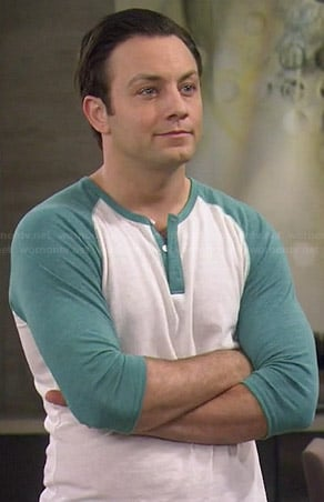 Josh's green baseball henley tee on Young and Hungry