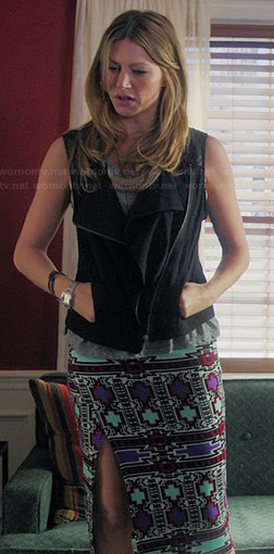 Josslyn's leather shoulder vest and printed skirt on Mistresses