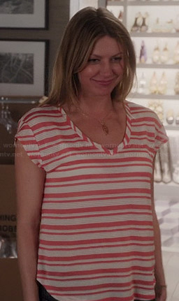 Savi's coral printed peasant blouse on Mistresses