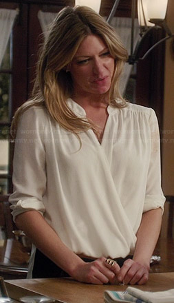 Josslyn's white wrap blouse on Mistresses