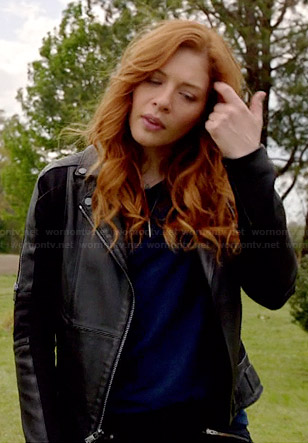 Julia's black leather jacket with zip sleeves on Under the Dome