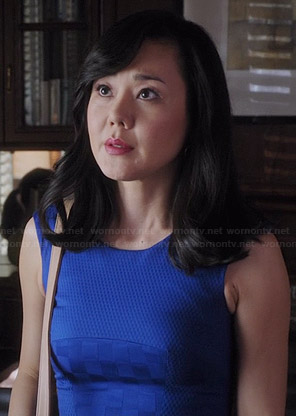 Karen's blue checkerboard pattern dress on Mistresses