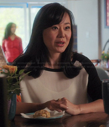 Karen's white blouse with black back and sleeves on Mistresses