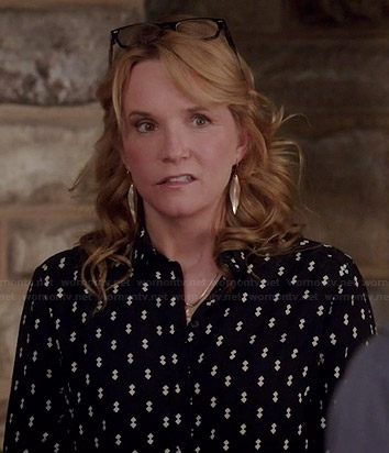 Kathryn's black diamond print shirt on Switched at Birth