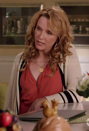 Kathryn's orange zip front top on Switched at Birth