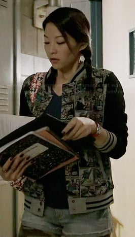 Kira's comic printed bomber jacket on Teen Wolf