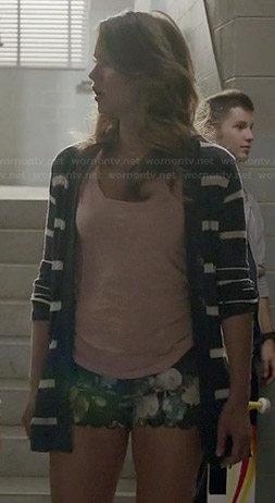 Malia's blue striped cardigan and floral scalloped shorts on Teen Wolf
