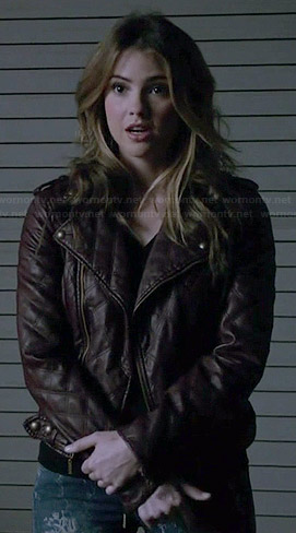 Malia's brown quilted leather jacket and blue floral jeans on Teen Wolf