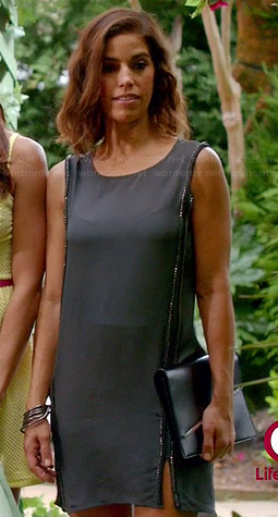 Marisol's grey embellished shift dress with side slits on Devious Maids