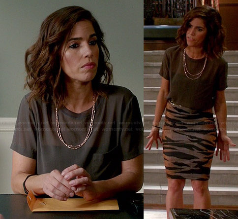 Marisol's grey silk tee and zebra print skirt on Devious Maids