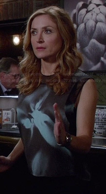 Maura's black and blue abstract floral print top on Rizzoli and Isles
