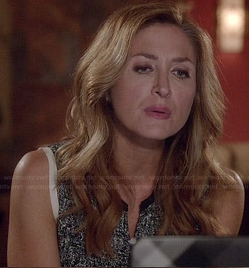 Maura's black speckled print top on Rizzoli and Isles