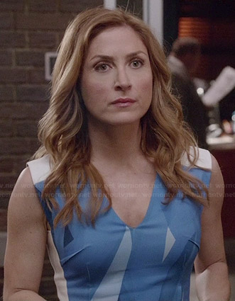 Maura's blue abstract printed dress on Rizzoli and Isles