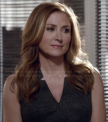 Maura's grey notch neck dress on Rizzoli and Isles