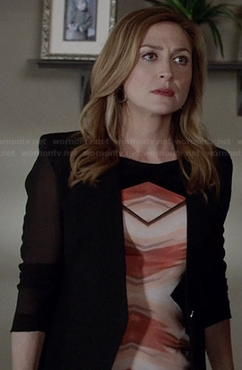 Maura's orange chevron print dress and sheer sleeved blazer on Rizzoli and Isles