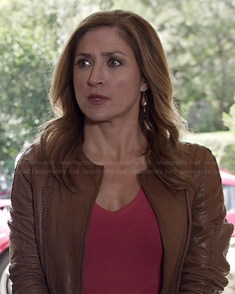Maura's tan stitch detail leather jacket on Rizzoli and Isles