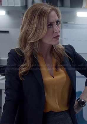 Maura's yellow v-neck blouse on Rizzoli and Isles