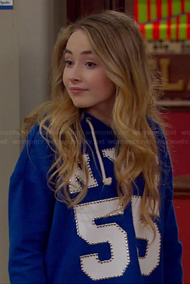 "Maya's blue studded ""NYC 55"" hoodie on Girl Meets World"